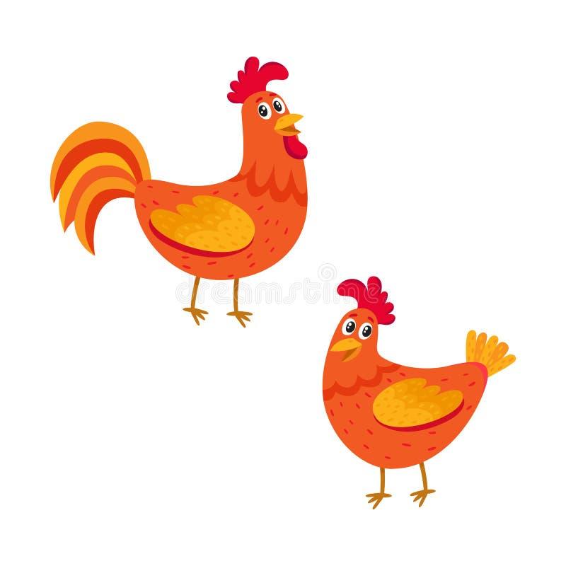 Śliczna, śmieszna para rolny kogut, i karmazynka, dwa kurczak ilustracji