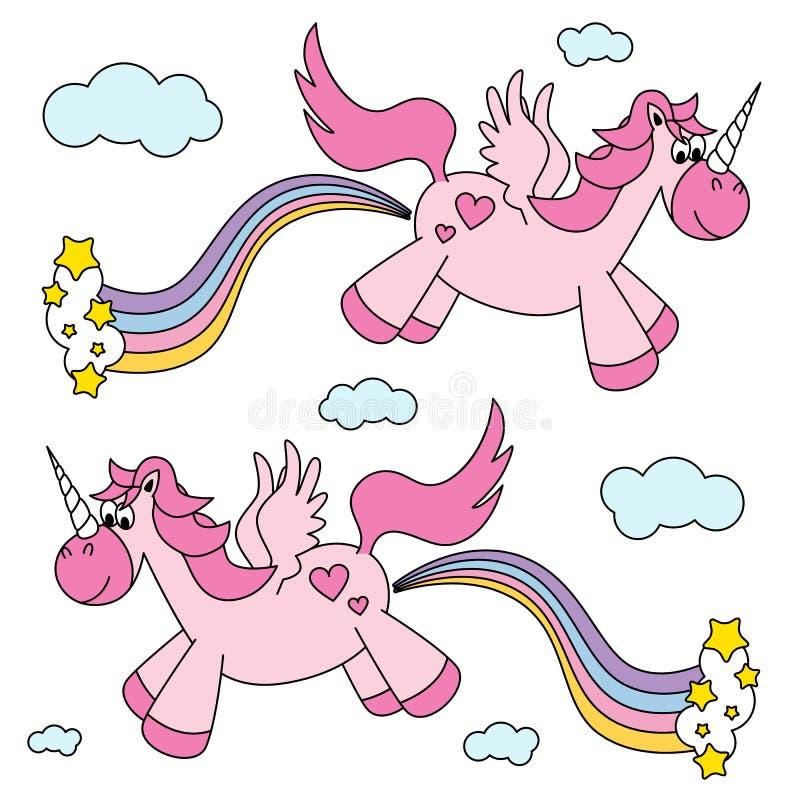 Śliczna śmieszna różowa jednorożec pierdzieć tęcza i latanie ilustracji