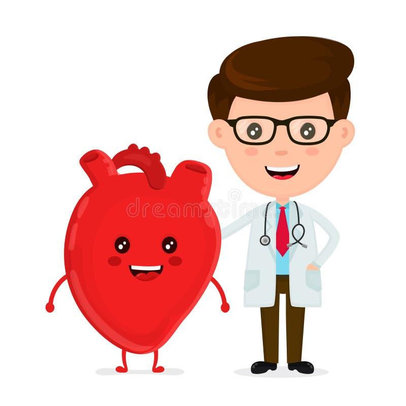 Śliczna śmieszna uśmiechnięta lekarka i zdrowy szczęśliwy serce ilustracji