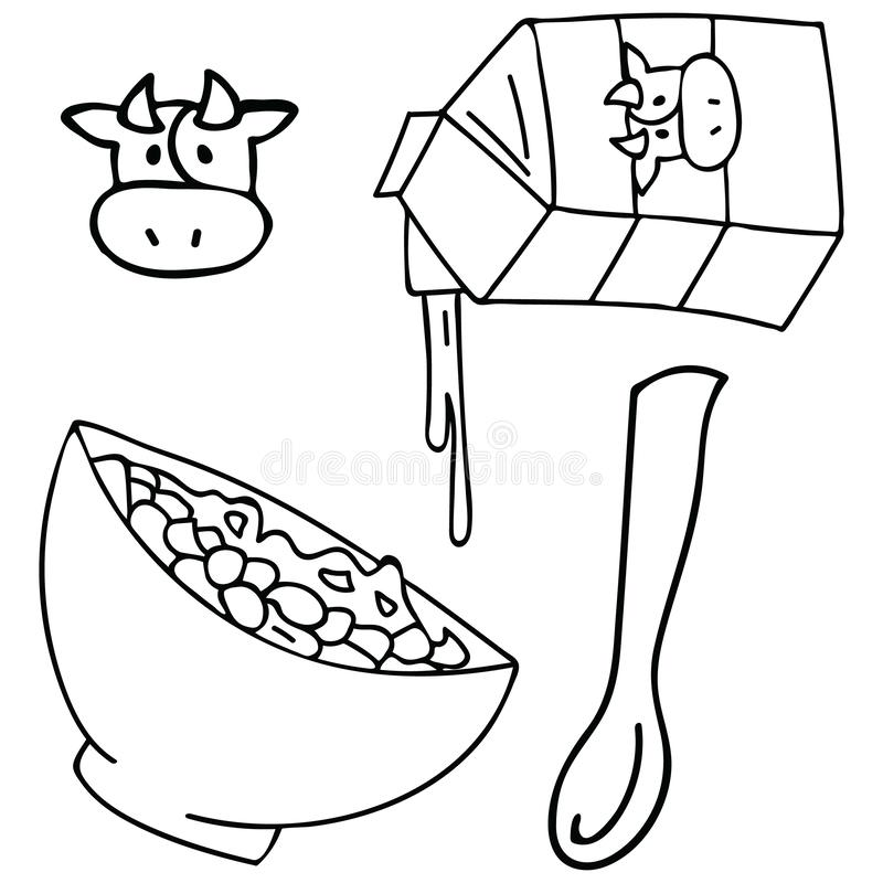 Śliczna śniadaniowego zboża czarny i biały wektorowa ilustracja zdrowy oatmeal puchar royalty ilustracja