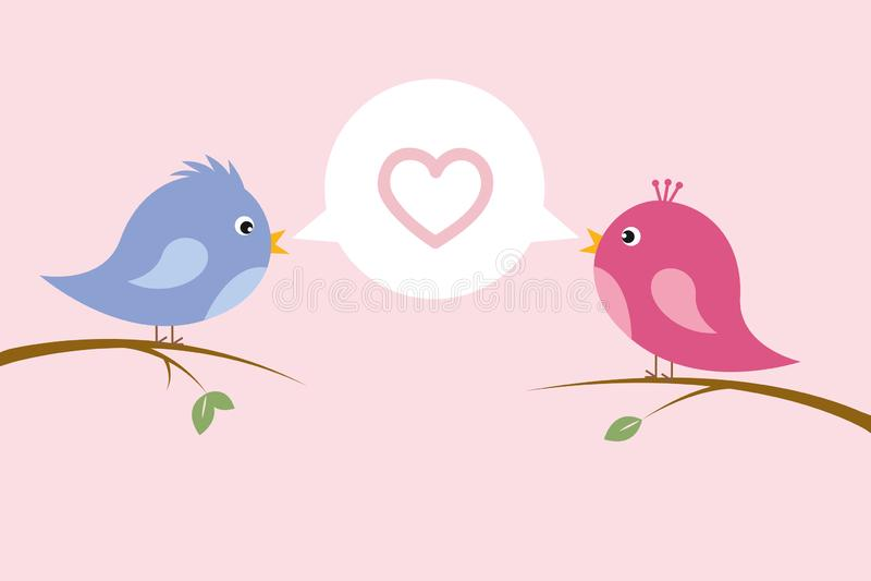 Śliczna śpiewacka ptasia para w miłości siedzi na gałąź ilustracja wektor