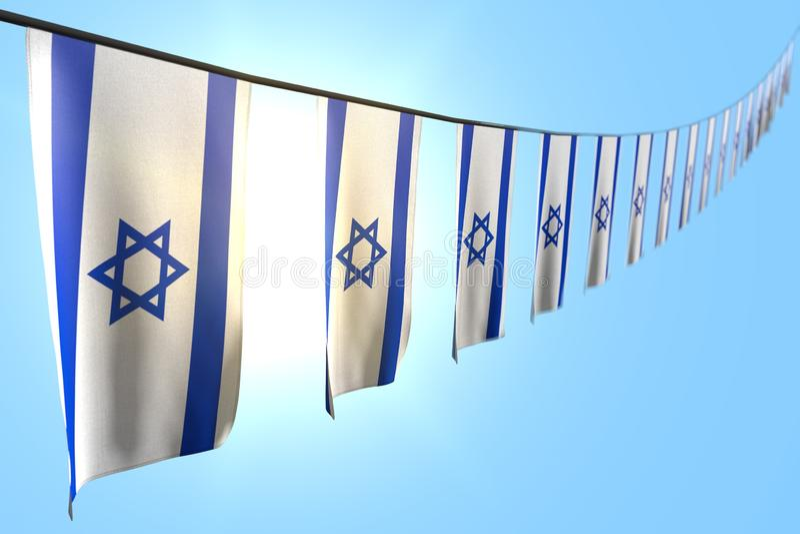 Śliczna święto narodowe flagi 3d ilustracja - wiele Izrael sztandary lub flagi wiesza przekątnę na arkanie na niebieskiego nieba  ilustracja wektor