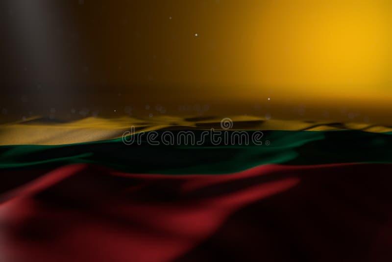 Śliczna święto pracy flagi 3d ilustracja - ciemna fotografia Lithuania flagi lying on the beach na żółtym tle z miękką ostrością  ilustracji