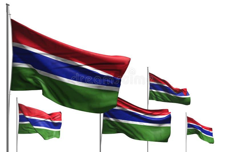 Śliczna święto pracy flagi 3d ilustracja - pięć flag Gambia są falą odizolowywającym na bielu royalty ilustracja