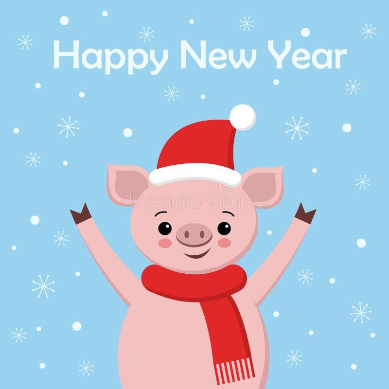 Śliczna świnia, kartek z pozdrowieniami wesoło boże narodzenia i szczęśliwy nowy rok, 2019, chiński nowy rok, ilustracja wektor