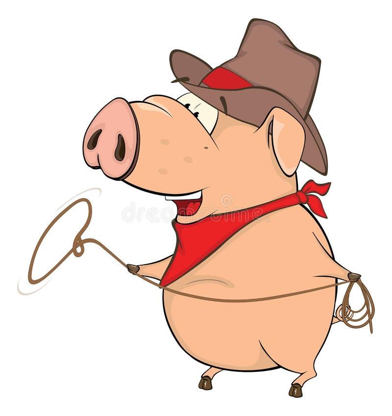 Śliczna świniowata zwierzęta gospodarskie kreskówka ilustracji