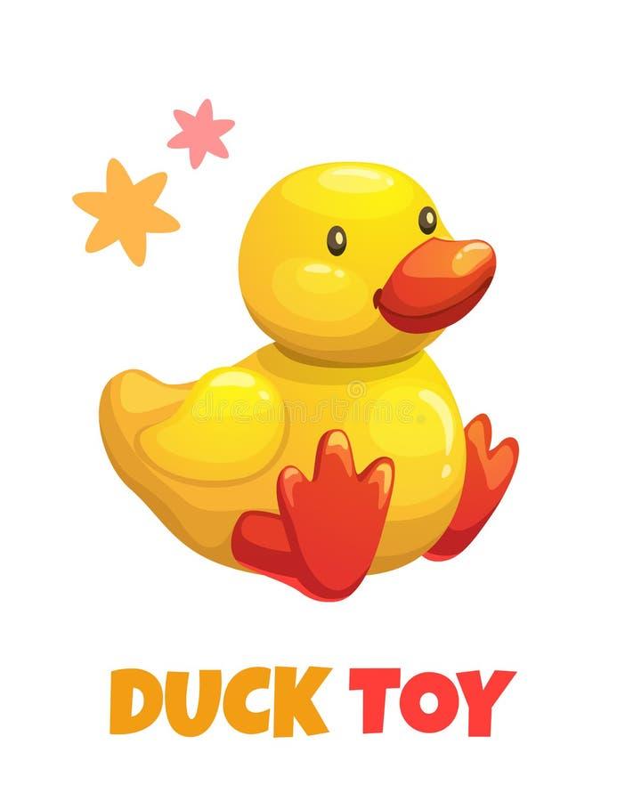 Śliczna żółta kaczka faszerująca kreskówki zabawka Wektorowa dziecko mokietu zabawka ilustracja wektor