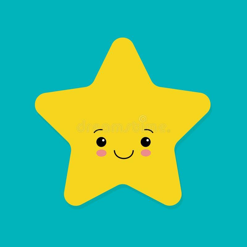 Śliczna żółta uśmiechnięta wektorowa mała gwiazda na błękitnym tle royalty ilustracja