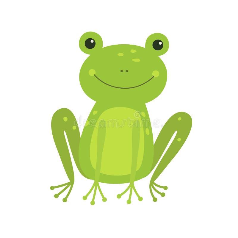 Śliczna żaby kreskówka odizolowywająca na bielu royalty ilustracja