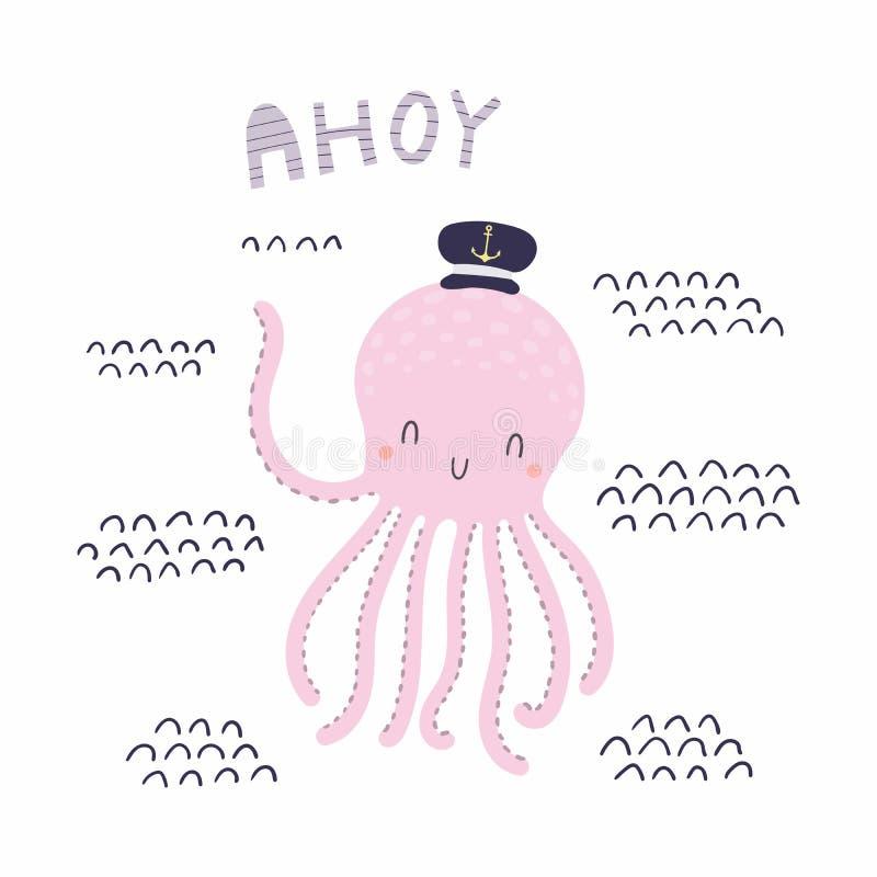Śliczna żeglarz ośmiornica royalty ilustracja