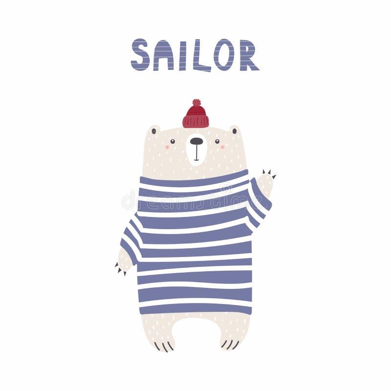 Śliczna żeglarza niedźwiedzia ilustracja ilustracji