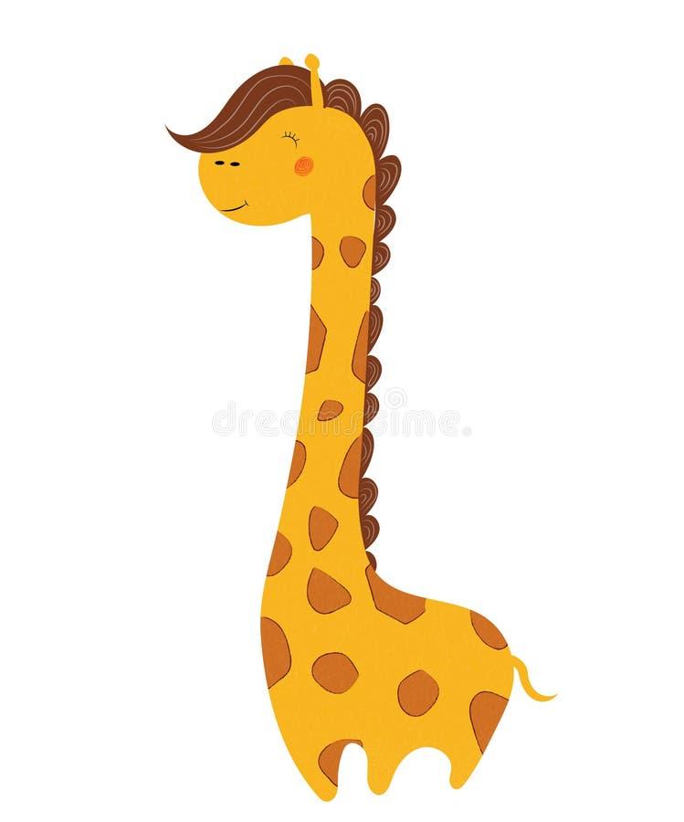 Śliczna afrykańska żyrafa odizolowywająca na białym tle royalty ilustracja