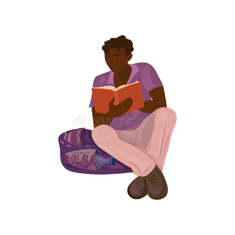 Śliczna afrykańska studencka chłopiec czytelniczego uniwersyteta książka ilustracja wektor
