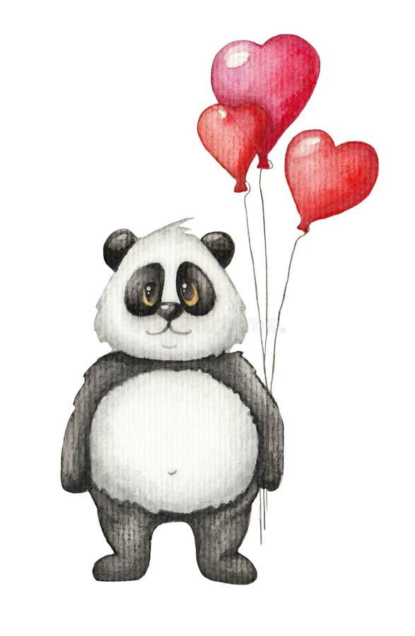 Śliczna akwareli panda z czerwień balonem royalty ilustracja
