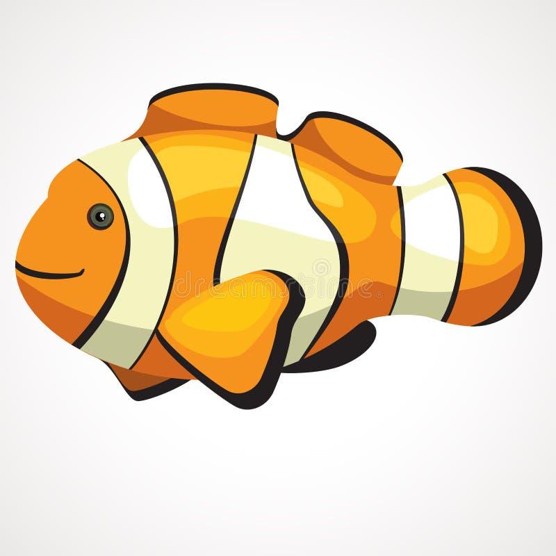 Śliczna akwarium błazenu ryba kreskówka rysuje tła trawy kwiecistego wektora royalty ilustracja