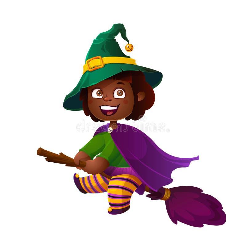 Śliczna amerykanin afrykańskiego pochodzenia dziewczyny czarownica na miotle szczęśliwego halloween sztuczka przysmaki ilustracji