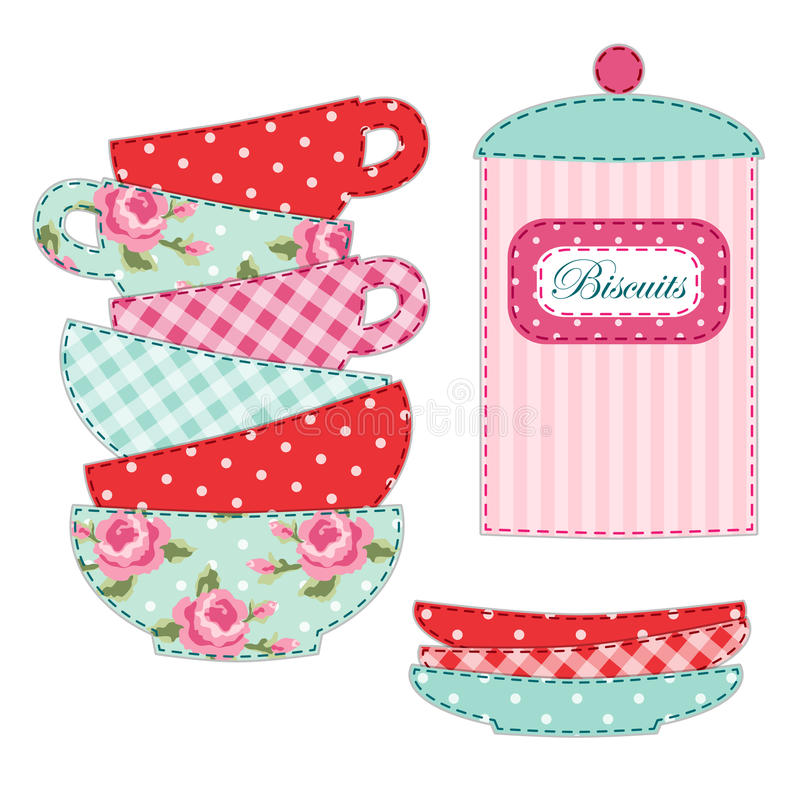 Śliczna aplikacja herbaciane filiżanki i materiał jako retro elementy dla herbacianego przyjęcia ilustracji