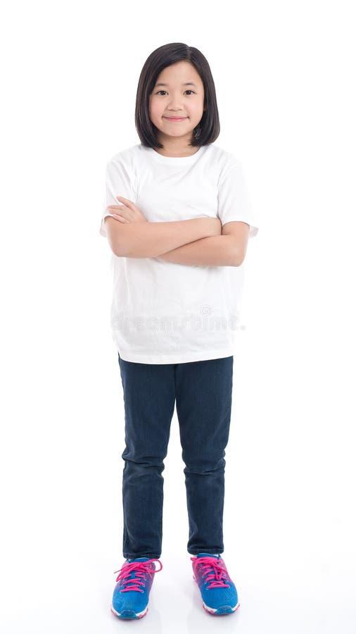 Śliczna Azjatycka dziewczyna w białej koszulce obrazy stock