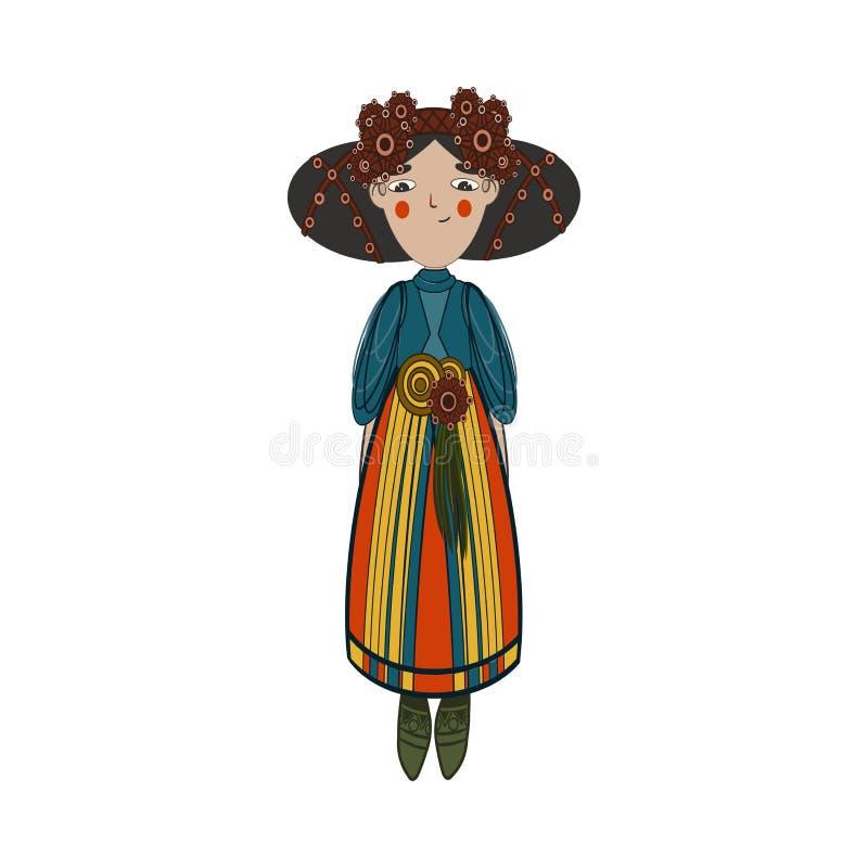 Śliczna azjatykcia uśmiechnięta dziewczyna w krajowych kolorowych ubraniach ilustracji