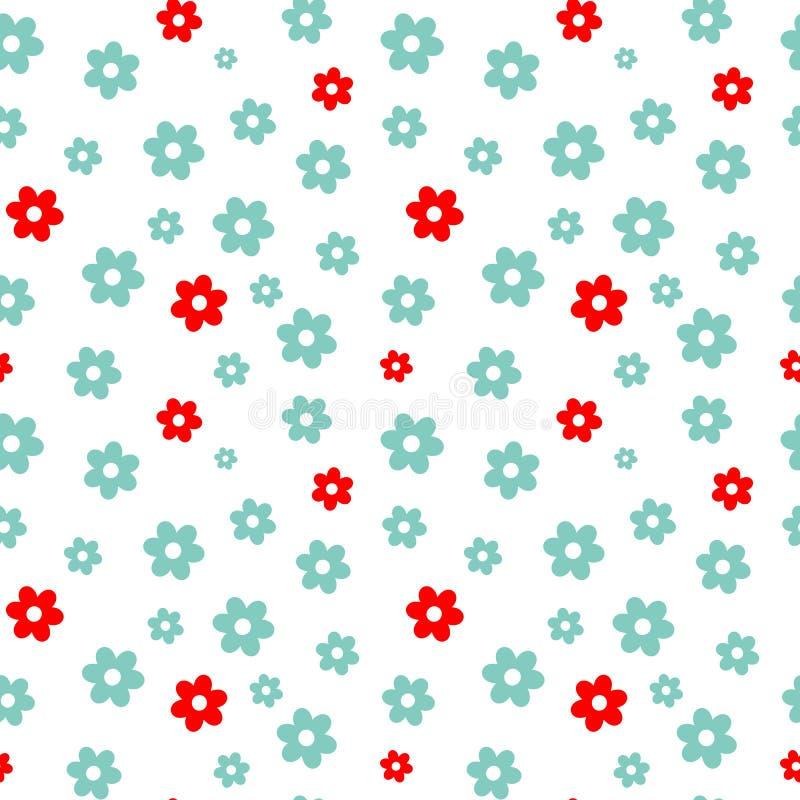 Śliczna błękitna i czerwona stokrotka kwitnie bezszwową deseniową tło ilustrację royalty ilustracja