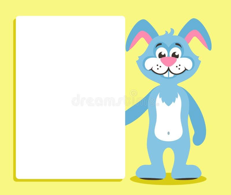 Śliczna błękitna królik zając z białą deską lub sztandarem ilustracja wektor