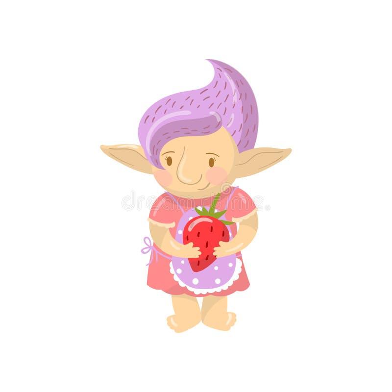 Śliczna błyszczki dziewczyny charakteru mienia truskawka, śmieszna istota z fiołkową włosianą kreskówka wektoru ilustracją ilustracja wektor