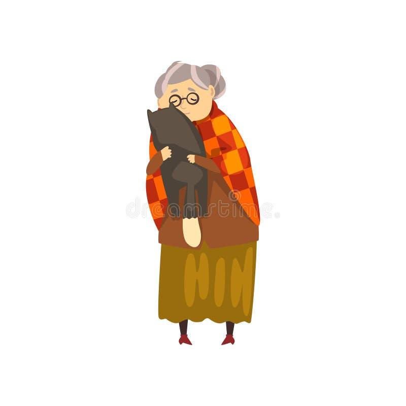 Śliczna babcia ściska jej czarnego kota, osamotnionej starej damy i jej zwierzęcego zwierzęcia domowego wektorowej ilustraci na b ilustracja wektor