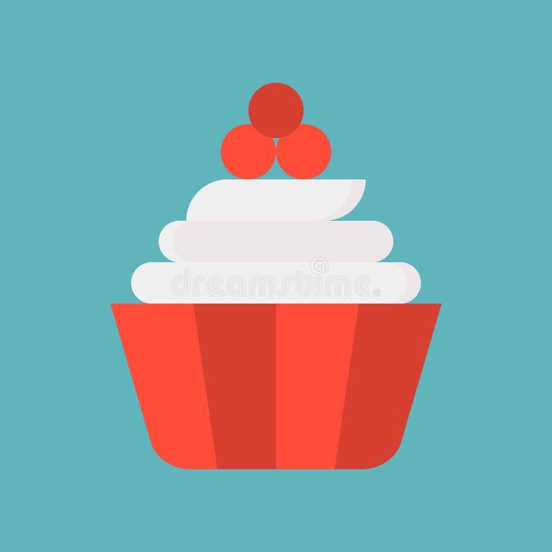 Śliczna babeczka z śmietanką, cukierkami i ciasto setem, płaska projekt ikona royalty ilustracja