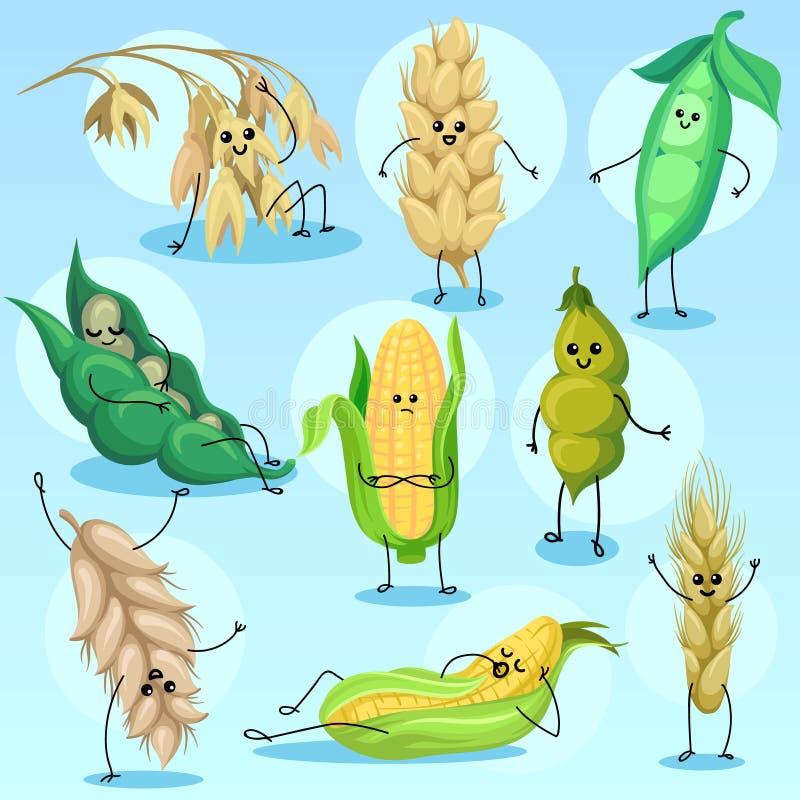 Śliczna banatka, jęczmień, fasola, grochy i kukurydzani charaktery, ustawiamy, zboży i legumes wektoru ilustracje, royalty ilustracja