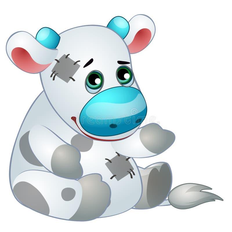 Śliczna biała krowa - starych children faszerująca zabawka z łatą Wektor w kreskówka stylu odizolowywającym na bielu ilustracji