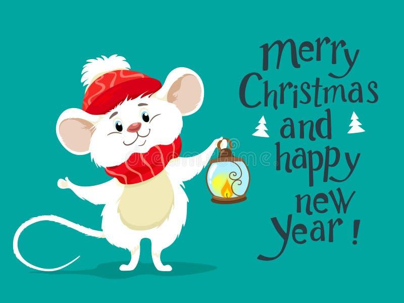 Śliczna biała mysz w szaliku i czerwonym kapeluszu, symbol 2020 Ratatouille Wektorowy charakter w kreskówka stylu handwritten Wes royalty ilustracja