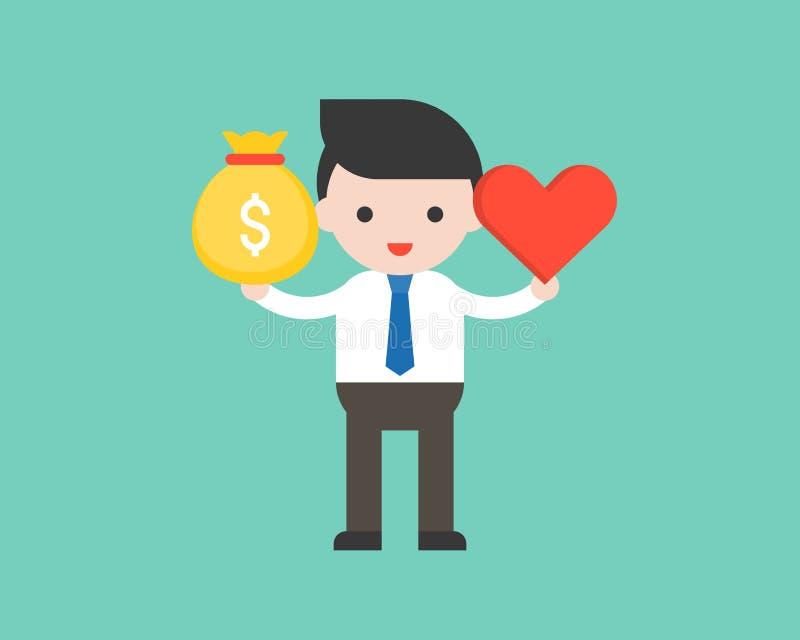 Śliczna biznesowego mężczyzna chwyta pieniądze torba i serce, równowaga między inco royalty ilustracja