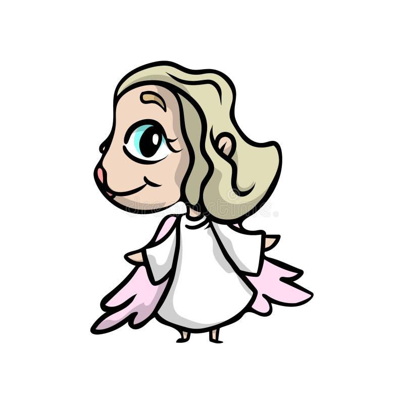 Śliczna blondynka anioła dziewczyna z dużymi niebieskimi oczami ilustracja wektor