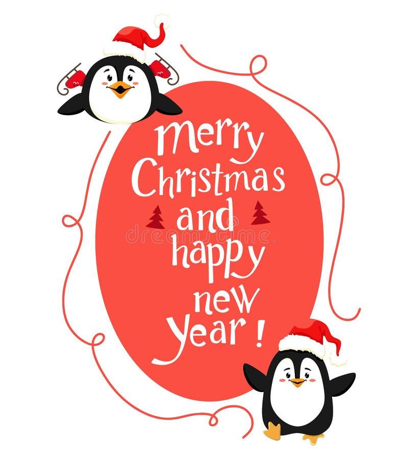 Śliczna Bożenarodzeniowa dekoracja z pingwinami i ręcznie pisany tekstem Wektor odizolowywa na bia?ym tle ilustracji