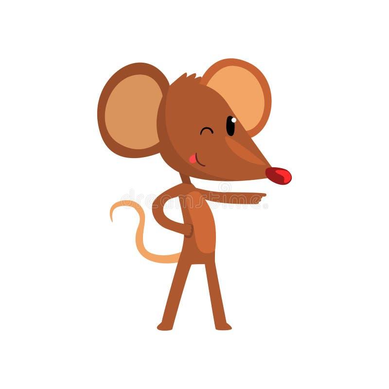 Śliczna brown mysz wskazuje, śmiesznej ślepuszonka charakteru kreskówki wektorowa ilustracja na białym tle ilustracji