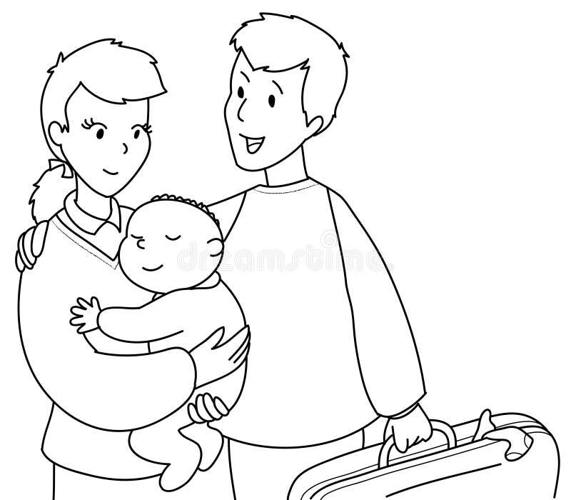 śliczna Bw rodzina ilustracja wektor