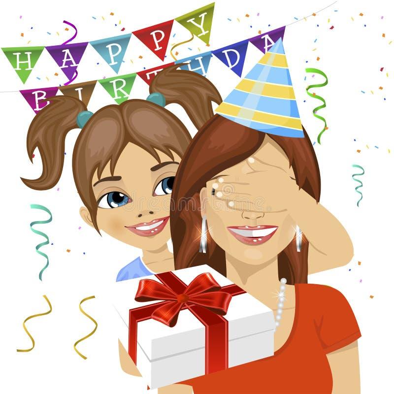 Śliczna córka zakrywa jej macierzystych oczy daje niespodzianka prezentowi przy urodzinowym rocznicowym przyjęciem royalty ilustracja