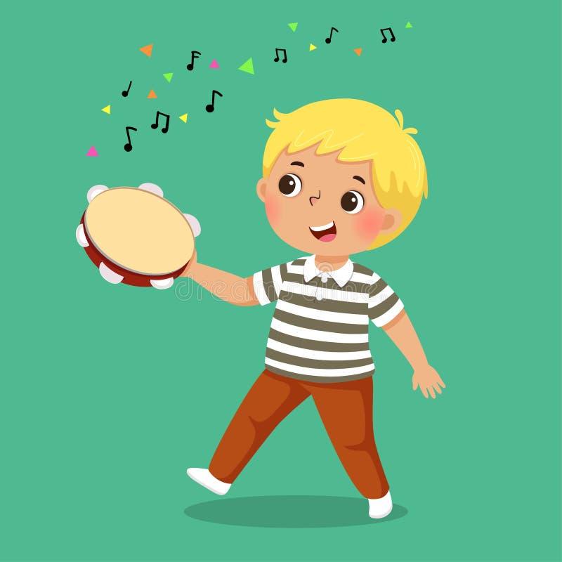 Śliczna chłopiec bawić się tambourine na zielonym tle royalty ilustracja