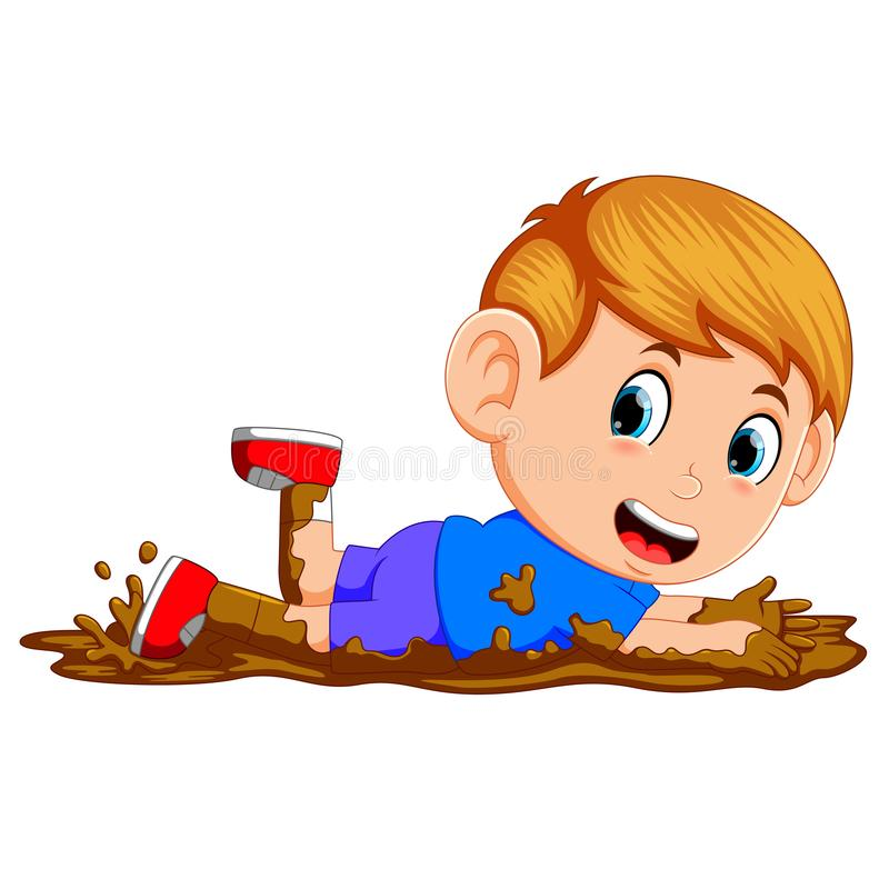Śliczna chłopiec bawić się w błocie ilustracja wektor