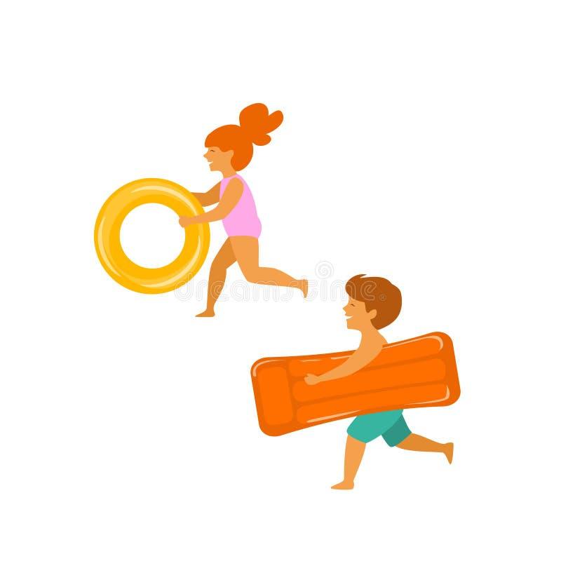 Śliczna chłopiec i dziewczyna, dzieci biega na plaży z nadmuchiwanymi pławikami ilustracji