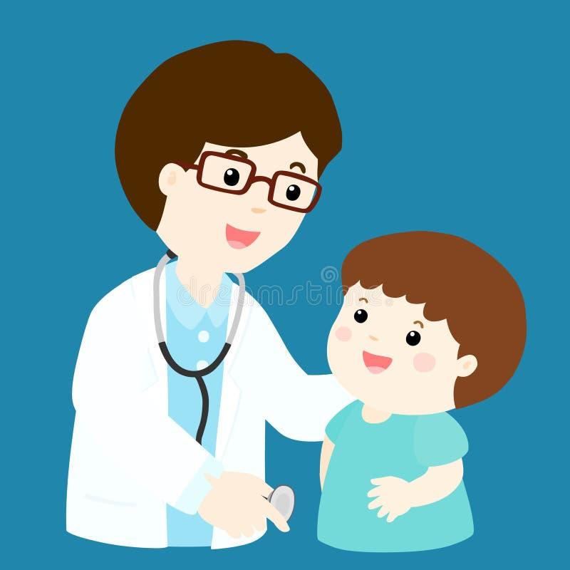 Śliczna chłopiec kreskówka widzii lekarkę ilustracji