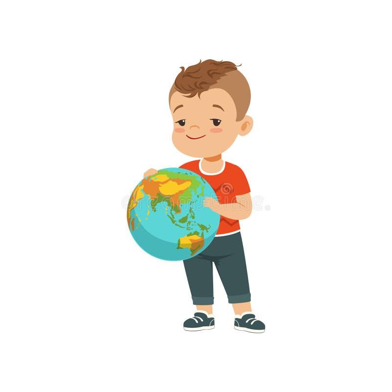 Śliczna chłopiec mienia kula ziemska, dzieciaka chronienia ziemi planety wektorowa ilustracja na białym tle ilustracji