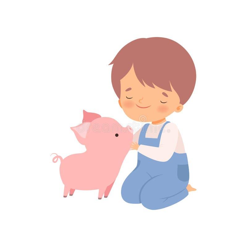 Śliczna chłopiec Migdali prosiaczka, dzieciak Oddziała wzajemnie z zwierzęciem w Kontaktowej zoo kreskówki wektoru ilustracji ilustracja wektor