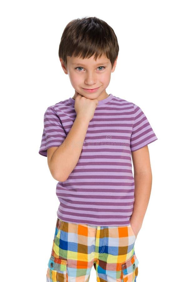 Śliczna chłopiec myśleć obrazy stock