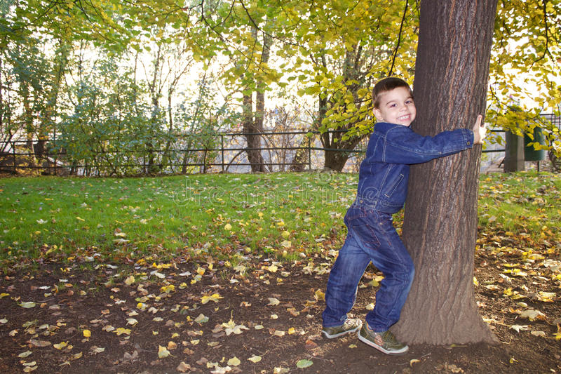 Śliczna chłopiec trzyma drzewa obrazy royalty free