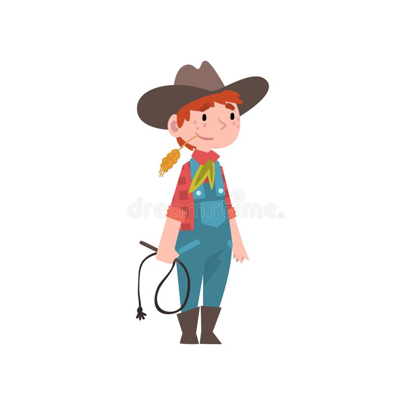 Śliczna chłopiec Ubierająca jako kowboj, dzieciaki Przyszłościowy zawód, chłopiec w Amerykańskim Tradycyjnym kostiumu z lasso wek royalty ilustracja