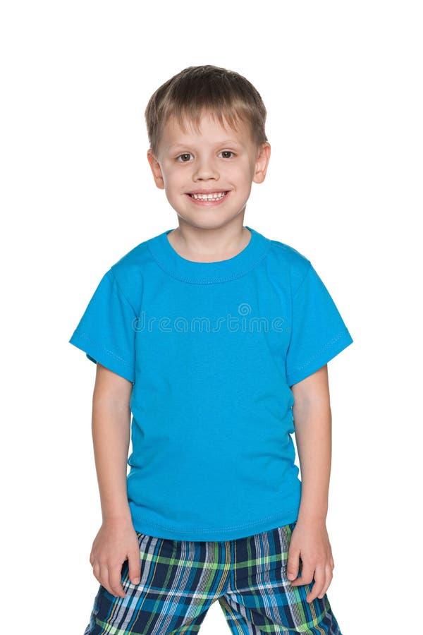 Śliczna chłopiec w błękitnej koszula zdjęcia stock