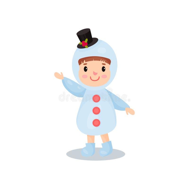 Śliczna chłopiec w kostiumu bałwan, dzieciak w świątecznej kostiumowej kreskówka wektoru ilustraci ilustracja wektor