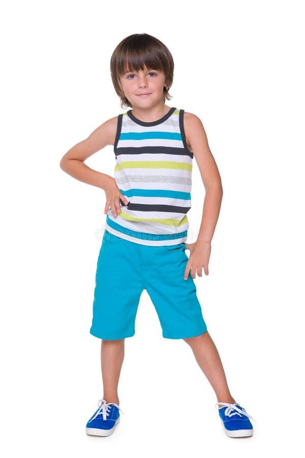 Śliczna chłopiec w pasiastej kamizelce zdjęcie stock
