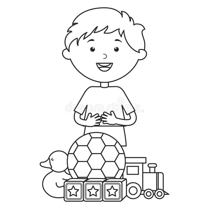 Śliczna chłopiec z piłek nożnych zabawkami i piłką ilustracja wektor